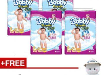 Giảm 50k Bộ 4 gói Tã quần Bobby – Tặng 1 Thú nhồi bông Bobby chan 50 cm trị giá 300.000VND