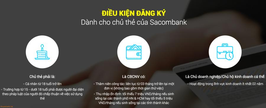 Điều kiện đăng ký thẻ tín dụng Sacombank