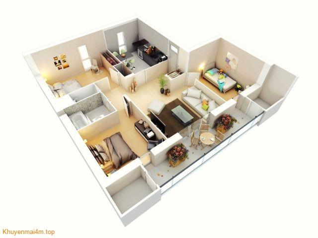 Một số mẫu thiết kế cho căn hộ 3 phòng ngủ