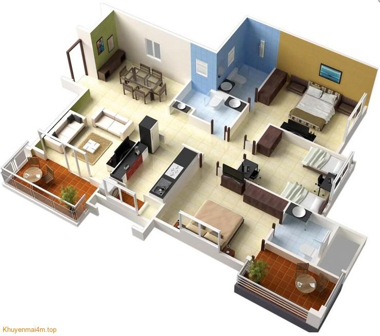 3 phòng ngủ cũng được bố trí một cách hợp lý và phải chăng.