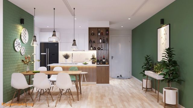 Phòng bếp và phòng ăn được kết nối hai màu sắc chủ đạo trắng và xanh